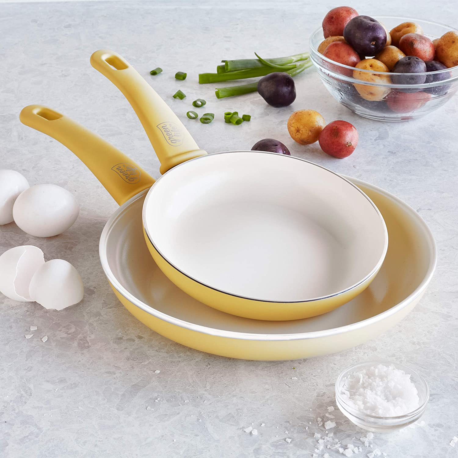 <br>GreenLife Soft Grip Healthy Ceramic Nonstick Yellow Frying Pan